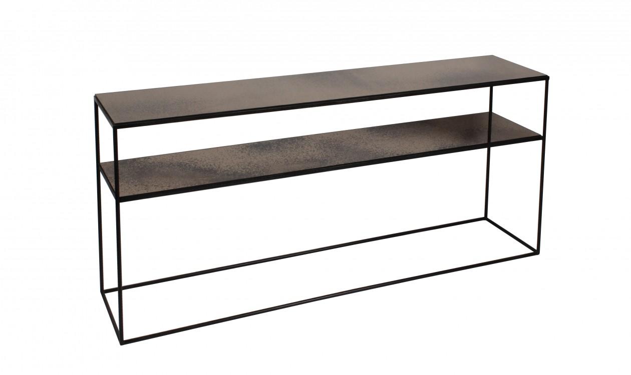 Notre Monde Bronze Copper Leaf Sofa Console Table