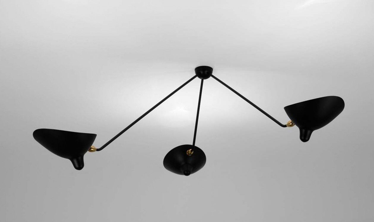 serge mouille ceiling lamp spider 3 fixed arms. Black Bedroom Furniture Sets. Home Design Ideas