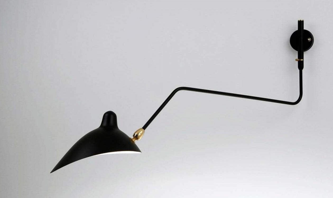 serge mouille wall lamp 1 rotating curved arm v glamper casashopping. Black Bedroom Furniture Sets. Home Design Ideas